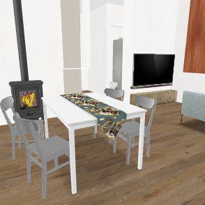 Piano Terra TV e Divano sottoscala con scala a L Interior Design Render