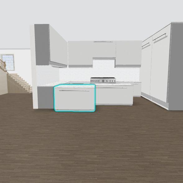 L Kitchen not U w/existing bkgd Interior Design Render