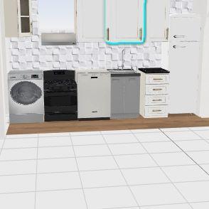 cucina con fornelli sotto finestra Interior Design Render