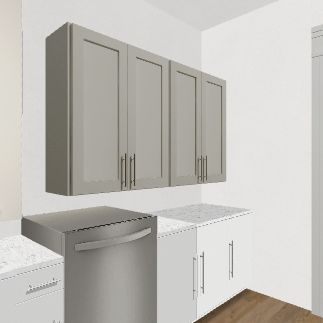 Kitchen and laundry room Interior Design Render