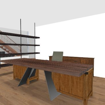 row house with extension - 2nd floor Interior Design Render