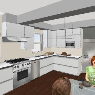Comptoir gris armoires électros Interior Design Render