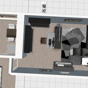 Home1_narożnik_biurko na srodku Interior Design Render