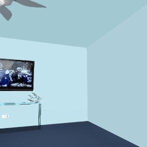 Blue Cozy Den Interior Design Render