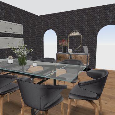 black and wood dining Interior Design Render