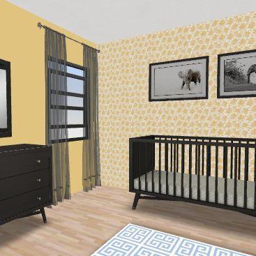 yellow baby girl room Interior Design Render