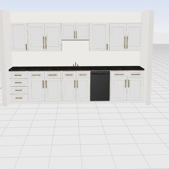 Sink centered basement kitchenette Interior Design Render