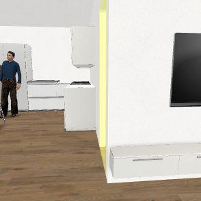 Bagno piccolo cucina spostata 3p Interior Design Render